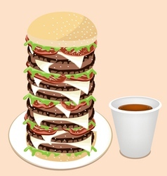 Juicy cheese burger with disposable coffee cup vector