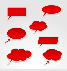 Set of various red speech bubbles vector