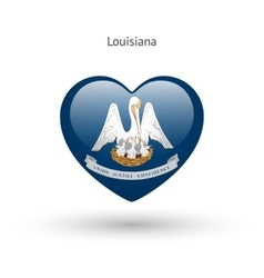 Love louisiana state symbol heart flag icon vector