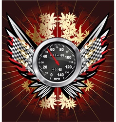 Speedometer with floral vector