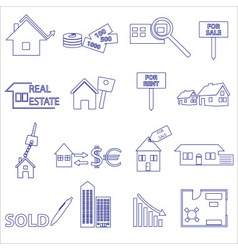 Blue real estate outline icons and symbols set vector