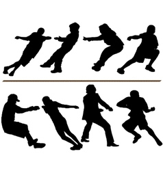 Tug of war rope pulling silhouettes vector