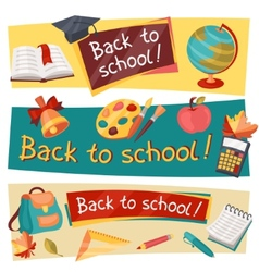 Back to school horizontal banners with education vector