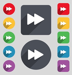 Rewind icon sign a set of 12 colored buttons and a vector
