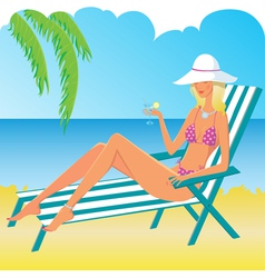 Beautiful relaxing girl on the beach vector