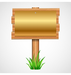 Wooden sign with gold paper vector