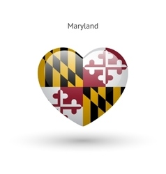 Love maryland state symbol heart flag icon vector