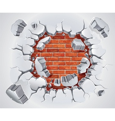 Old plaster and red brick wall damage vector