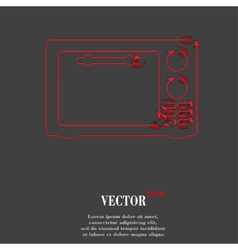 Microwave kitchen equipment flat modern web button vector