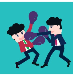 Two businessmen fighting in a boxing with boxing g vector
