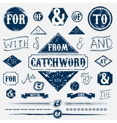 Design elements set and vintage catchword vector