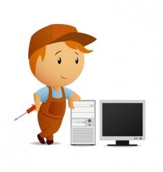 Cartoon serviceman with computer vector