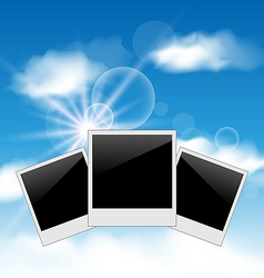 Set pictures on blue sky background vector