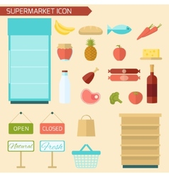 Supermarket icon flat vector