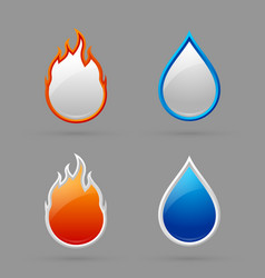 Fire and water icons vector