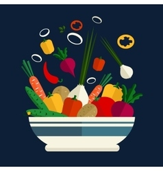 Cooking of fresh vegetable salad vector