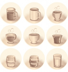 Cups and glasses vector