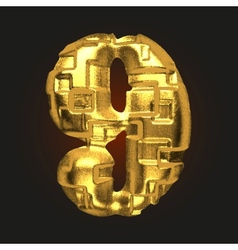 Golden letter 9 vector
