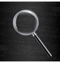 Magnifying glass on black wooden background vector