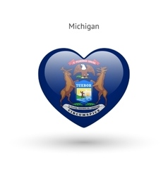 Love michigan state symbol heart flag icon vector