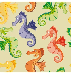 Seamless rainbow sea horse vector
