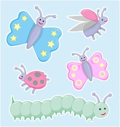 Happy little beetles butterflies and caterpillar vector
