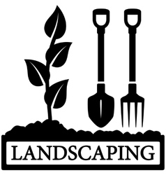 Landscaping icon with sprout and gardening tools vector