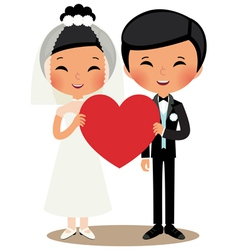 Chinese couple bride and groom vector