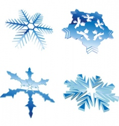Set of glow blue winter 3d snowflakes vector