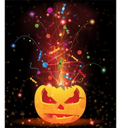Pumpkin head and fireworks vector