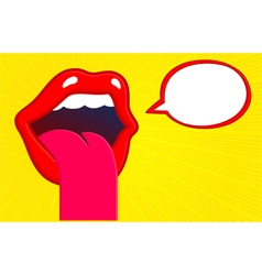 Mouth sticking tongue out with speech bubble vector