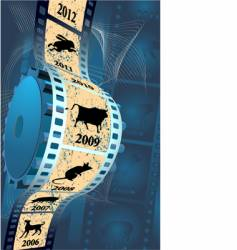 Film on a blue background vector