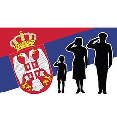 Serbia soldier family salute vector