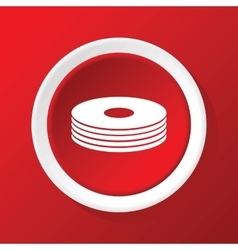 Disc pile icon on red vector