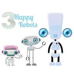 Three happy robots vector