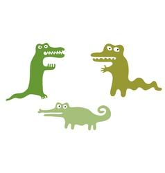 Green cute crocodiles vector