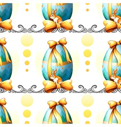 A seamless design with easter eggs and bunnies vector