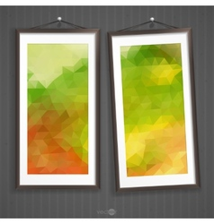 Two frames of picture on a striped old wall vector