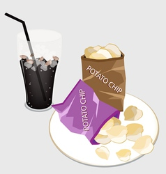 Open bag of chips with a delicious iced coffee vector