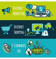Seo internet marketing set vector