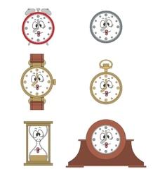 Cartoon funny clock face smiles 03 vector