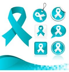 Blue ribbons awareness kit vector