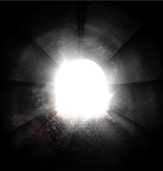 Light at end of tunnel vector