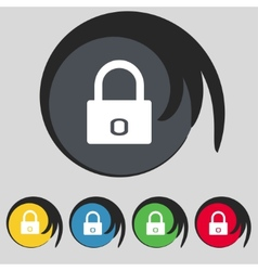 Lock sign icon locker symbol set colur buttons vector