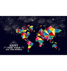 New year 2015 world map card vector