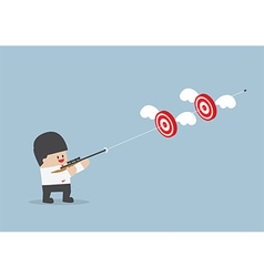 Businessman shoot two targets with one bullet vector