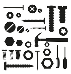 Hardware screws and nails with tools symbols eps10 vector