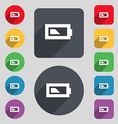 Battery half level icon sign a set of 12 colored vector