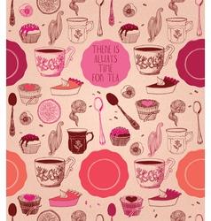 Tea party card design vector