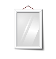 White isolated vertical photo frame hanging vector